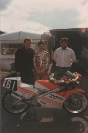John Davies with British 125cc Champion Alex Bedford and co-sponsor Bob Whittingham, 1988