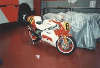 Niall Mackenzie's 1989 YZR Yamaha in Agostini's Workshop